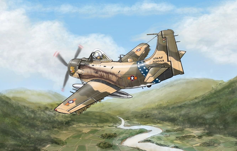Фото обои война, арт, штурмовик, Вьетнам, Douglas, A-1 Skyraider