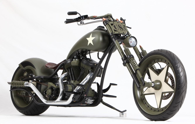 Фото обои Chopper, Harley-Davidson, Military, Custom, Motorbike