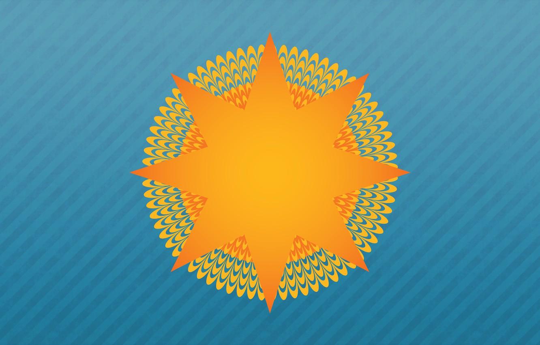 Фото обои Солнце, Минимализм, Лучи, Фон, Арт, Иллюзия, Оптическая иллюзия