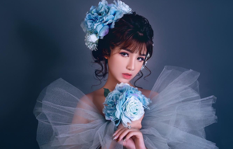 Фото обои взгляд, девушка, украшения, букет, азиатка