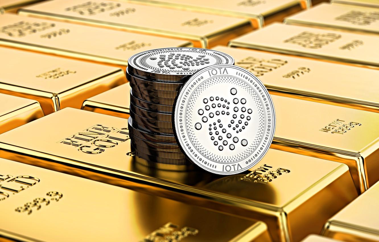 Фото обои золото, размытие, gold, cryptocurrency, iota, miota, айота