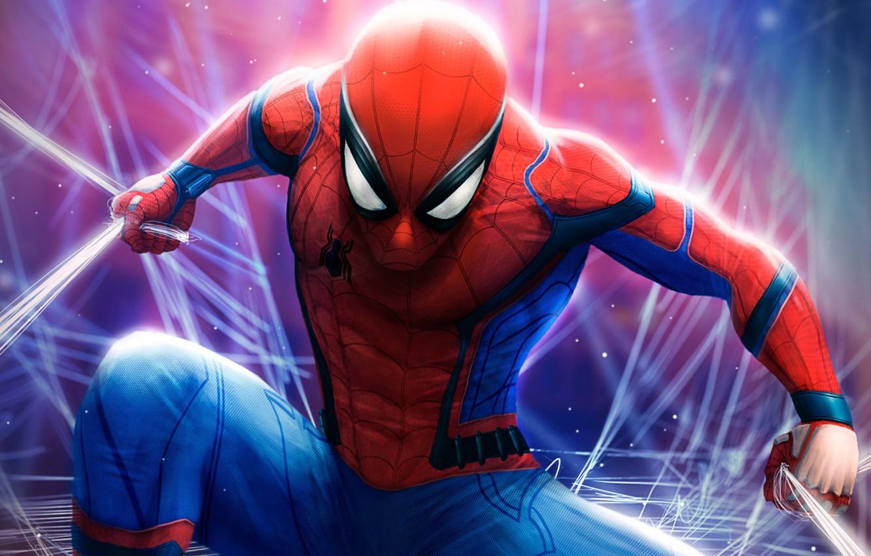 Фото обои фантастика, паутина, арт, костюм, комикс, Человек-паук, MARVEL, Spider-Man