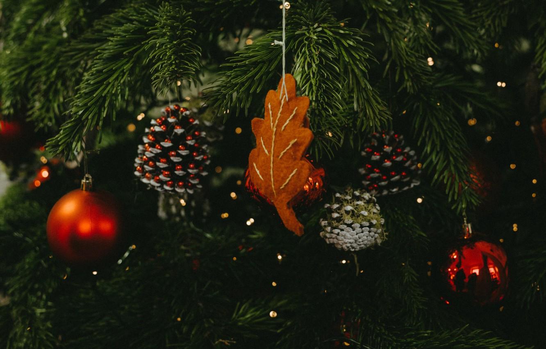 Фото обои украшения, праздник, шары, Рождество, Новый год, ёлка, шишки