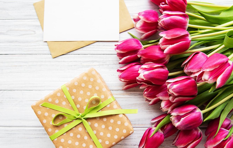 Фото обои подарок, букет, тюльпаны, Olena Rudo