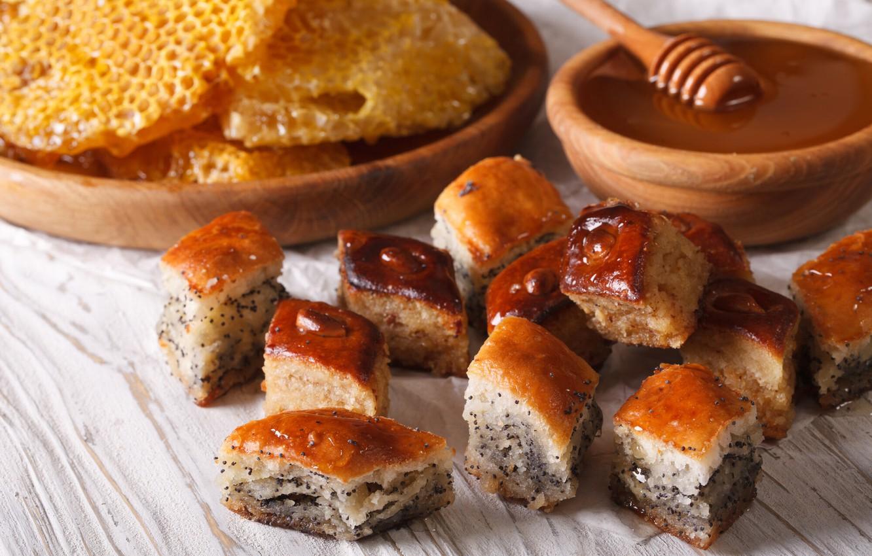 Фото обои мак, мед, выпечка, шулики