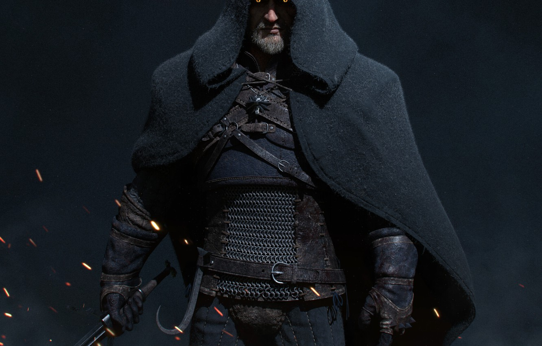 Фото обои искры, капюшон, the witcher, плащ, ведьмак, персонаж, Геральт, Геральт из Ривии, cloak, sparks, Geralt From …