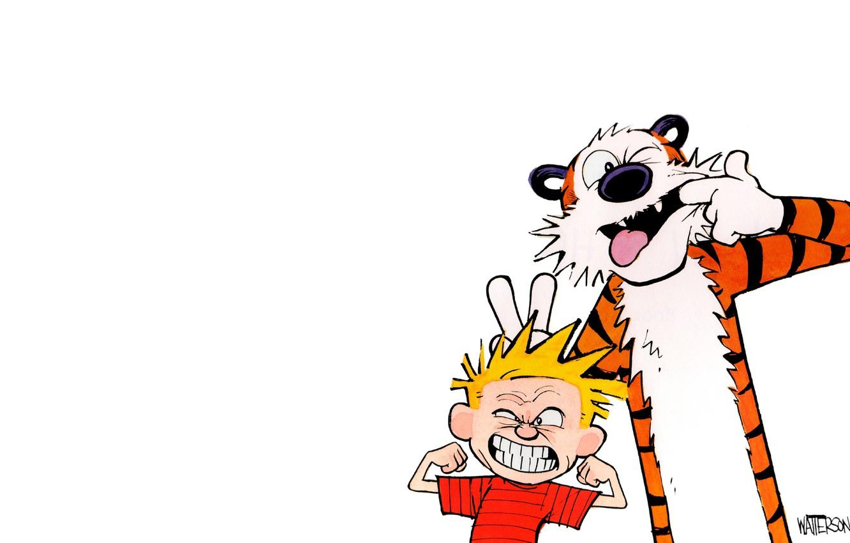 Фото обои тигр, эмоции, ребенок, мальчик, комикс, рожица, эмоция, Calvin and Hobbes, гримасса, calvin, Кельвин и Хоббс, …