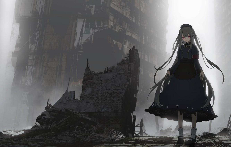 Фото обои девушка, город, руины