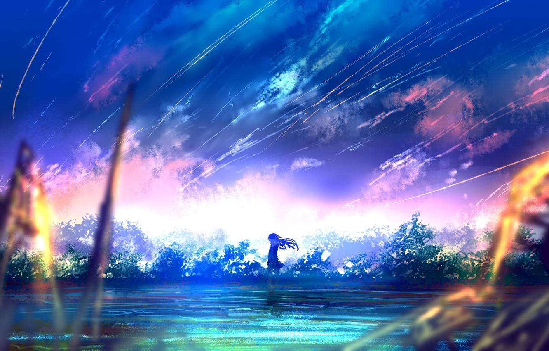 Фото обои девушка, деревья, закат, природа, аниме, арт, goroku