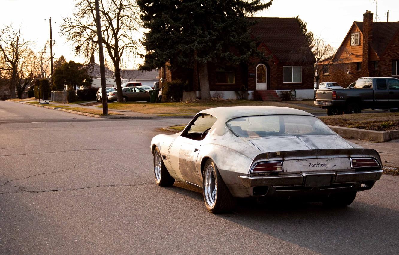 Фото обои Pontiac, Street, Road, Old School