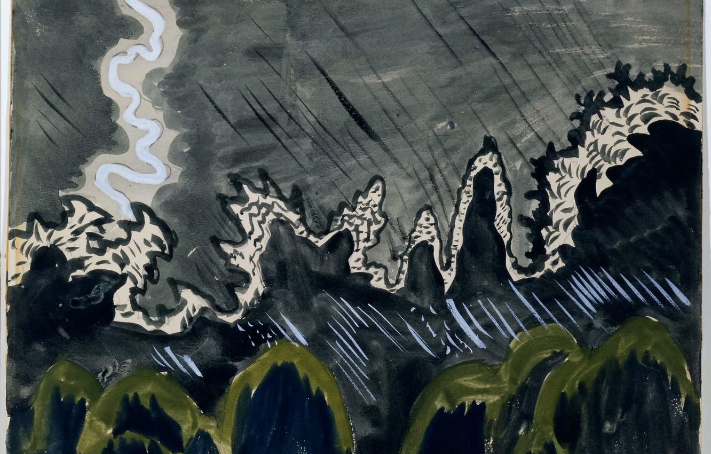 Фото обои July 15, 1916, Charles Ephraim Burchfield, Impression of Lightning