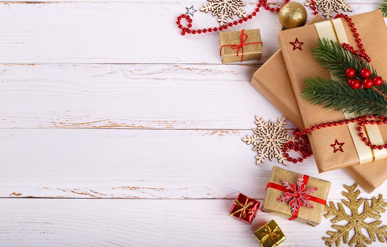 Фото обои Новый Год, Рождество, подарки, Christmas, wood, New Year, decoration, gifts, Merry, fir tree, ветки ели