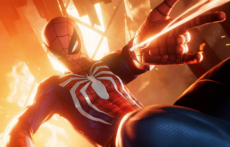 Фото обои фантастика, огонь, паутина, искры, костюм, супергерой, marvel, комикс, Человек-паук, Spider-Man, PS4