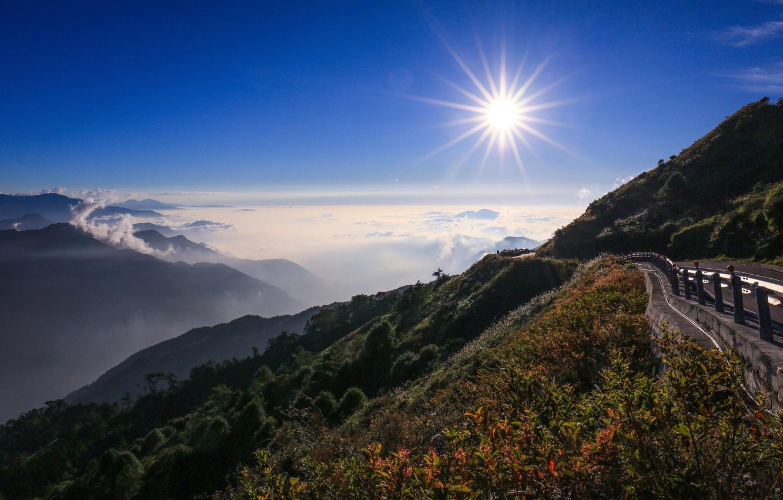 Фото обои дорога, закат, горы, Тайвань, Taiwan, Central Mountain Range, Mount Hehuan, Kunyang