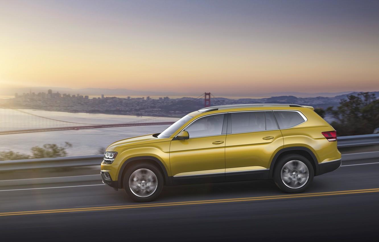 Фото обои город, жёлтый, Volkswagen, Atlas, 2017