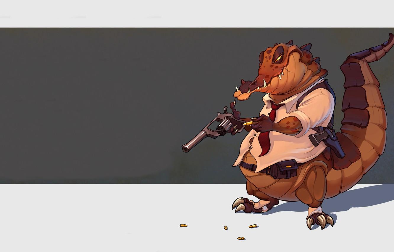 Фото обои Рисунок, Пистолет, Оружие, Крокодил, Арт, Art, Револьвер, Aleksandr Gromyshev, Gromyshev, by Aleksandr Gromyshev