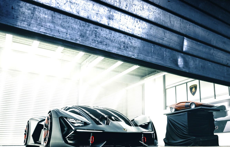 Фото обои свет, Lamborghini, ворота, 2017, Terzo Millennio Concept, масштабная модель