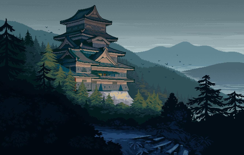 Фото обои горы, птицы, река, замок, Япония, ступени, серое небо, феодальная, еловый лес, лесистые холмы