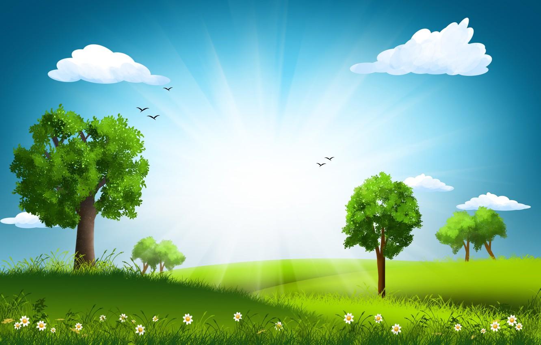 Рисунок с солнцем и деревьями колодца