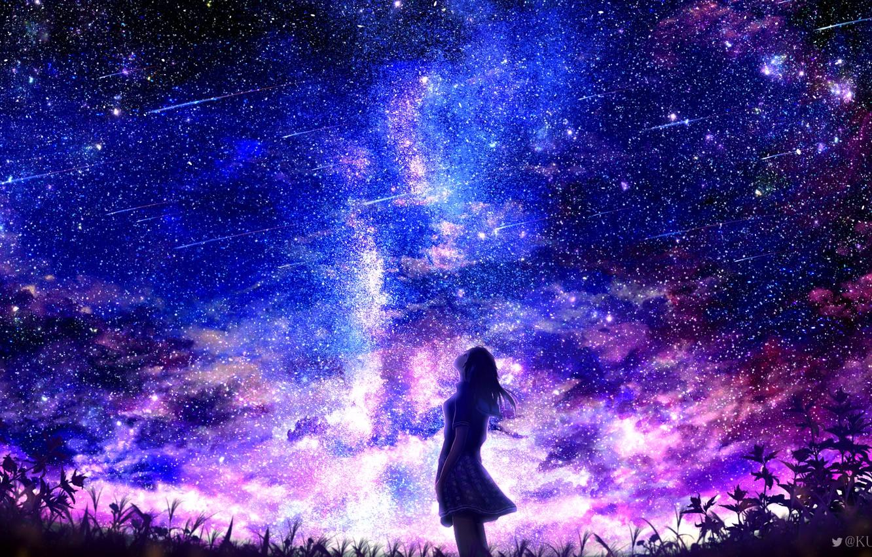 Фото обои небо, девушка, ночь, город