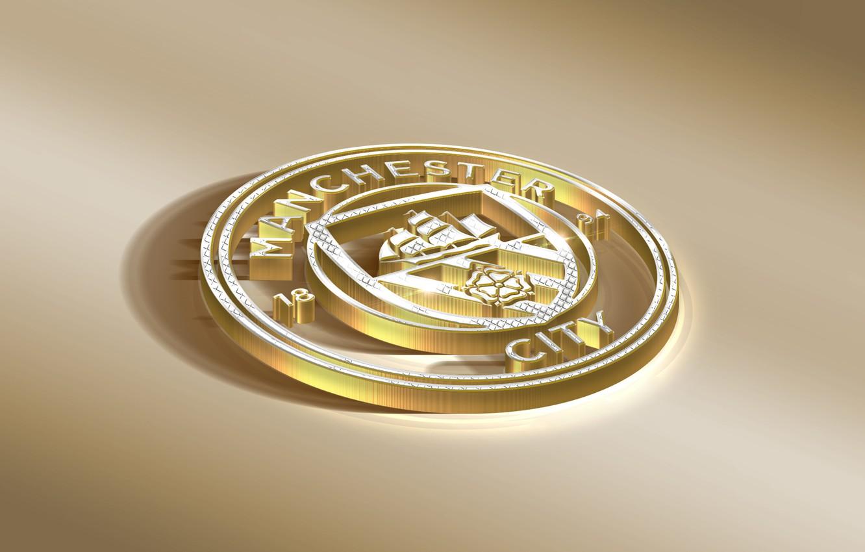 Фото обои Logo, Golden, Football, Sport, Soccer, Manchester City, Emblem, English Club