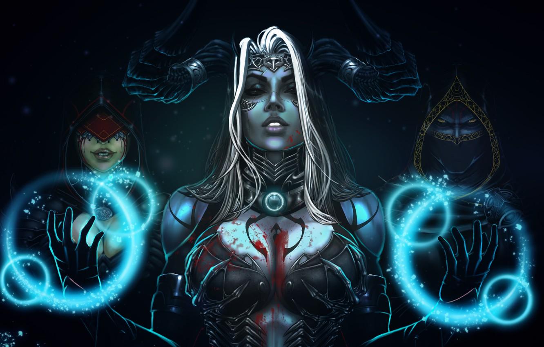 Фото обои Девушка, Girl, Магия, Тьма, Демоны, Рога, Dragon, Арт, Beautiful, Art, Devil, Суккуб, Darkness, Фантастика, Красивая, …
