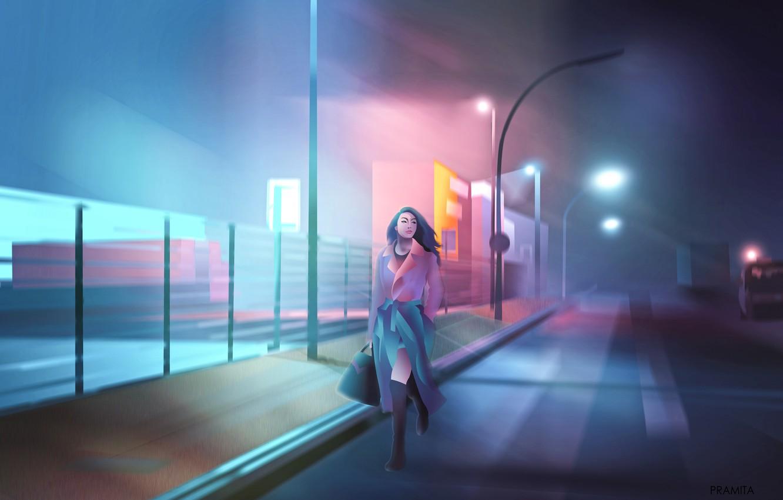 Фото обои city, girl, alone, cyberpunk, painting, digital art, illustration, backgroud, dawn of darkness, violet colors, neon …