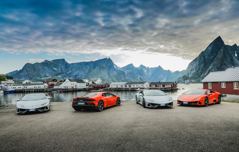 Фото обои небо, вода, горы, машины, Lamborghini, Evo, Huracan