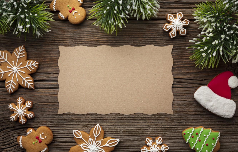 Фото обои украшения, печенье, Рождество, Новый год, new year, Christmas, wood, cookies, decoration, пряники, gingerbread, fir tree, …