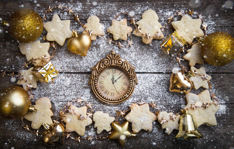 Фото обои снег, украшения, печенье, Рождество, Новый год, new year, Christmas, wood, snow, cookies, decoration