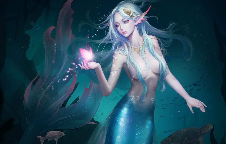 Фото обои Girl, Beautiful, Art, Water, Fiction, Mermaid, Ocean, Sea, Butterfly, Tail, HaRim Shin