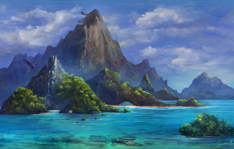 Фото обои Paradise, Океан, Море, Горы, Дракон, Скалы, Корабль, Dragon, Фантастика, Mountains, Ocean, Sea, Rocks, Ship, by ...