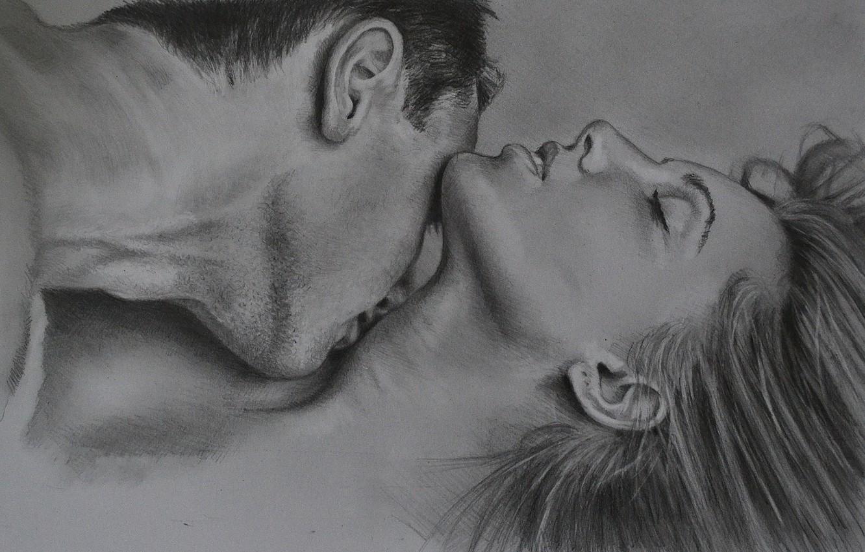 Фото обои любовь, поцелуй, пара, двое