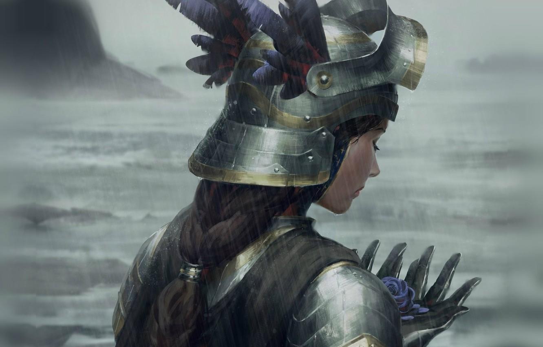 Фото обои шлем, сумерки, ливень, валькирия, art, голубая роза, со спины, пасмурная погода, Guweiz, женщина-воин, доспехи латные
