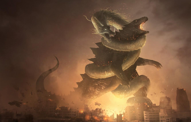 Фото обои Рисунок, Город, Дракон, Огонь, Битва, Разрушения, Dragon, Годзилла, Арт, Godzilla, Фантазия, by Franklin Chan, Franklin ...