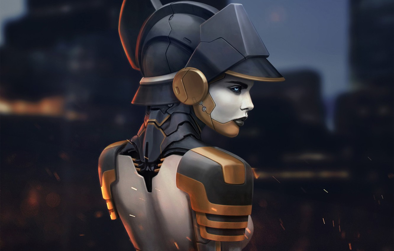 Фото обои взгляд, девушка, спина, арт, профиль, cyberpunk, фантастика.