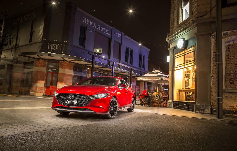 Фото обои фото, Красный, Mazda, Автомобиль, Hatchback, Mazda3, 2019, Skyactiv-G