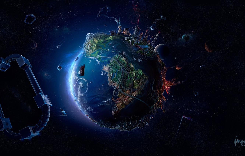 Фото обои космос, креатив, графика, планета, звёзды, арт, Земля, Earth, рендер, 3D Graphics, David Fuhrer