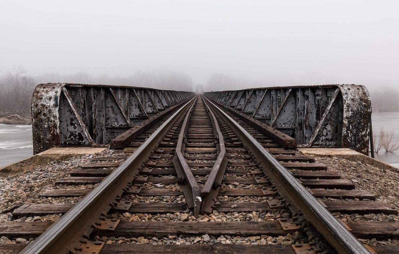 Обои железная дорога, туман, мост. Разное foto 7