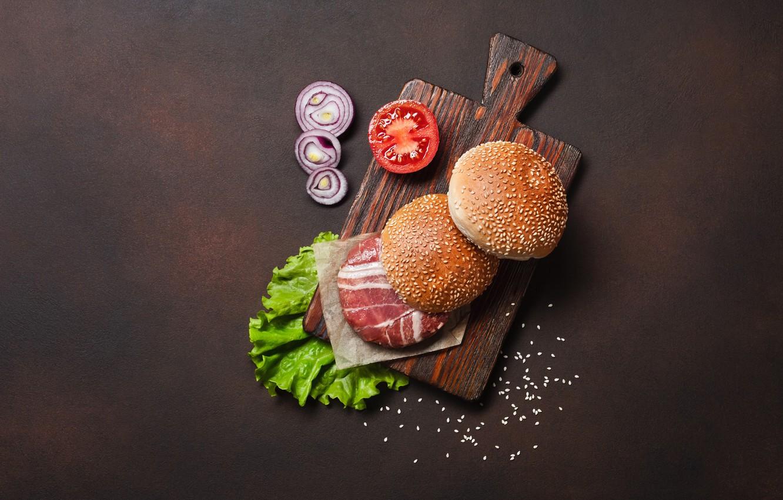 Фото обои лук, мясо, гамбургер, булочки, разделочная доска