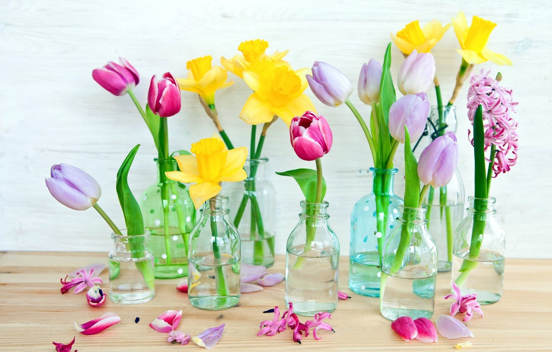 Фото обои цветы, бутылки, вазочки