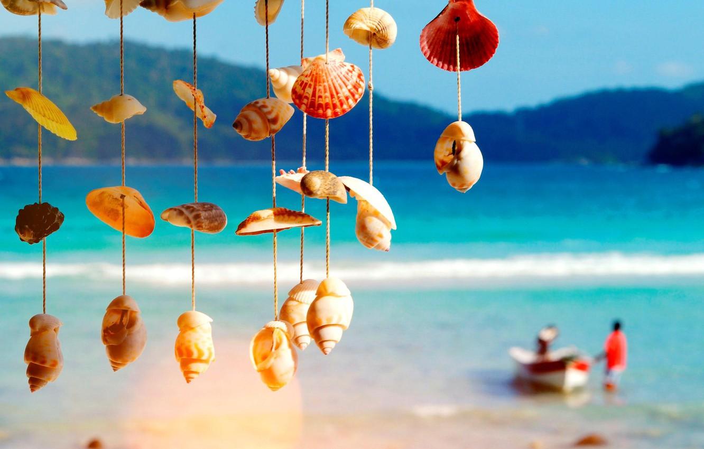 Фото обои море, лодка, ракушки, блюр