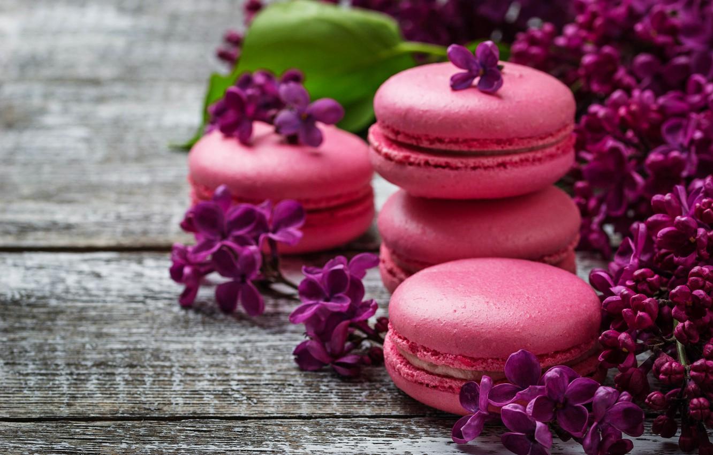 Фото обои wood, pink, flowers, сирень, macaroons, macaron, lilac, макаруны