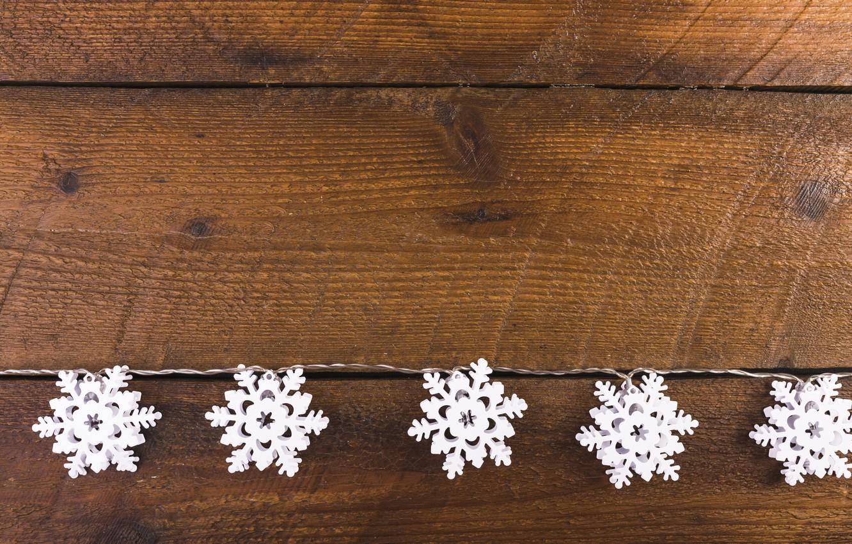 Фото обои зима, снежинки, фон, дерево, Christmas, wood, winter, background, snowflakes