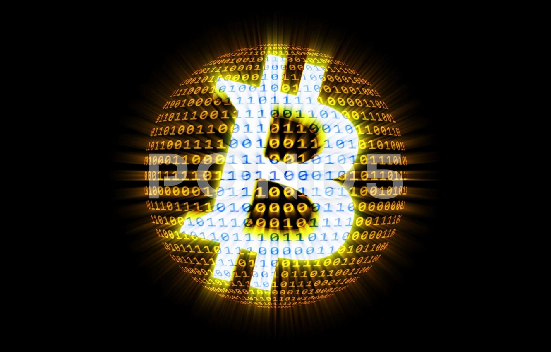 Фото обои чёрный, цифры, black, fon, bitcoin, биткоин, btc