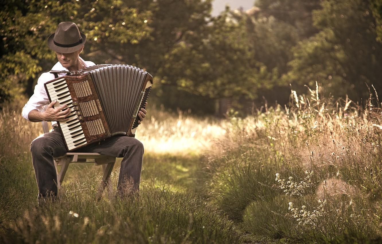 Фото обои природа, человек, акордеон