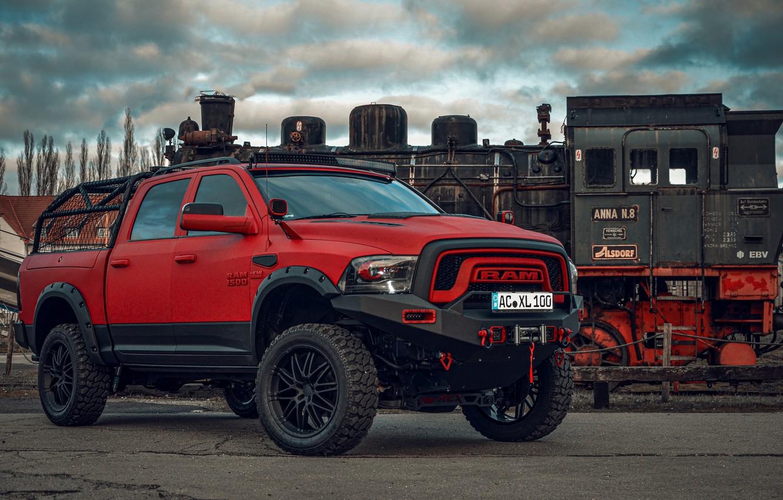 Фото обои красный, Dodge, пикап, 1500, Ram, Crew Cab, Limited, пневмоподвеска, JB Car Design