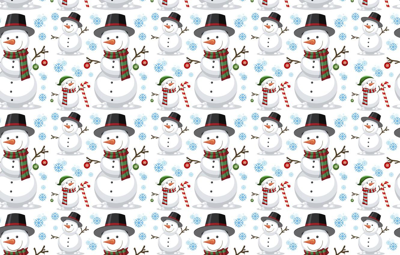 Фото обои украшения, фон, узор, Новый Год, Рождество, снеговик, Christmas, background, pattern, New Year, snowman, decoration, xmas, …