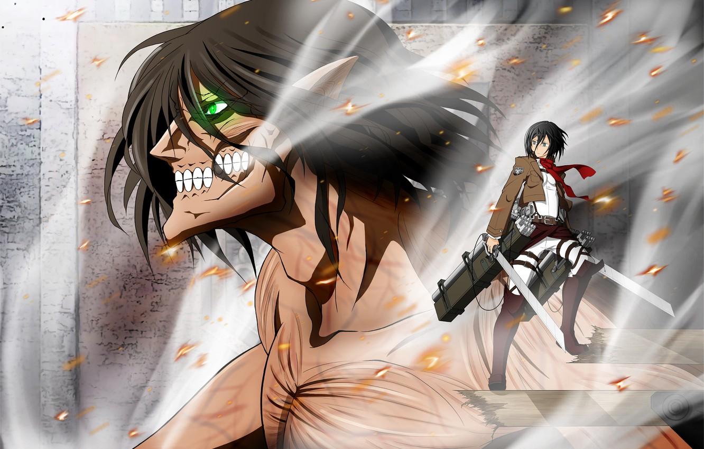 Фото обои аниме, арт, титан, Микаса, Shingeki no Kyojin, Эрен, Атака Титанов