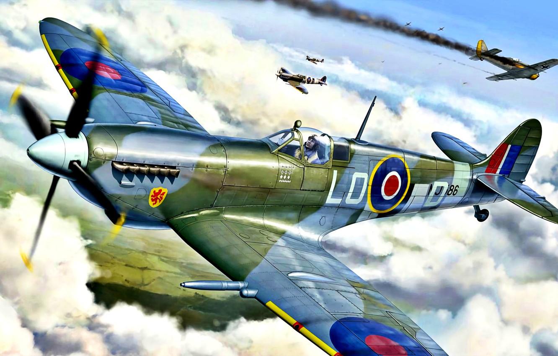 Обои spitfire, mk.ixc, Supermarine. Авиация foto 13